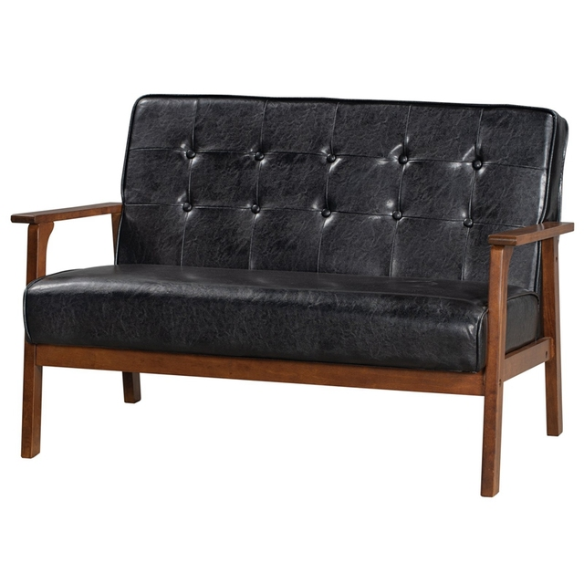 Loveseat Sofa Leather 2-Seat Couch 5