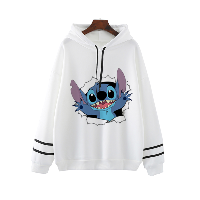 Lilo Stitch Pink Clothing Harajuku Streetwear Womens Hoodies Pullover Oversized Hoodie Sweatshirts Plus Size Women White Clothes