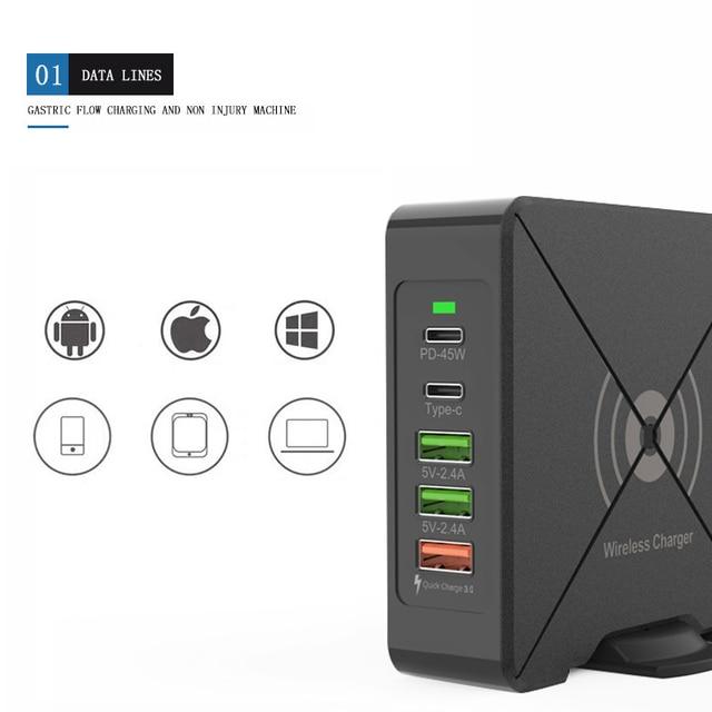 Có Cổng USB Sạc Điện Thoại Di Động 75W QC3.0 Laptop Nhanh Điện Dock Nhanh Chóng Sạc Wirless Sạc Loại C PD 45W Cổng