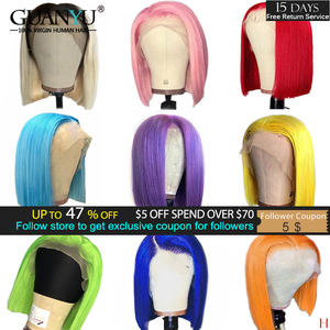 13X6 Bob Lace Front Wig Human Hair 150% Brazilian Remy Ombre Blonde Pink Red Blue Green Grey Orange Colored Short Bob Cut Wigs(China)