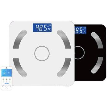 Di Peso corporeo Bilancia Smart Grasso Bilanciamento del Colore Digitale Otto Nero Collegare e Bluetooth SE45001