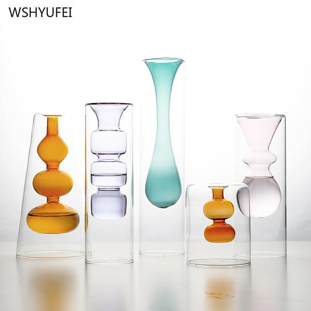 Nordic creative color glass vase flower arrangement hydroponic transparent home desktop decoration ornaments 1