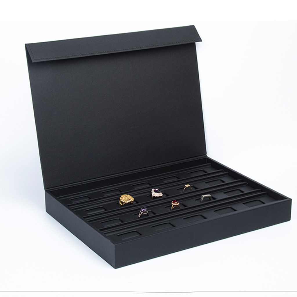 PU cuir anneau boucles d'oreilles plateaux affichage en vitrine bijoux organisateur Stand boîte 34x25x4.5 cm