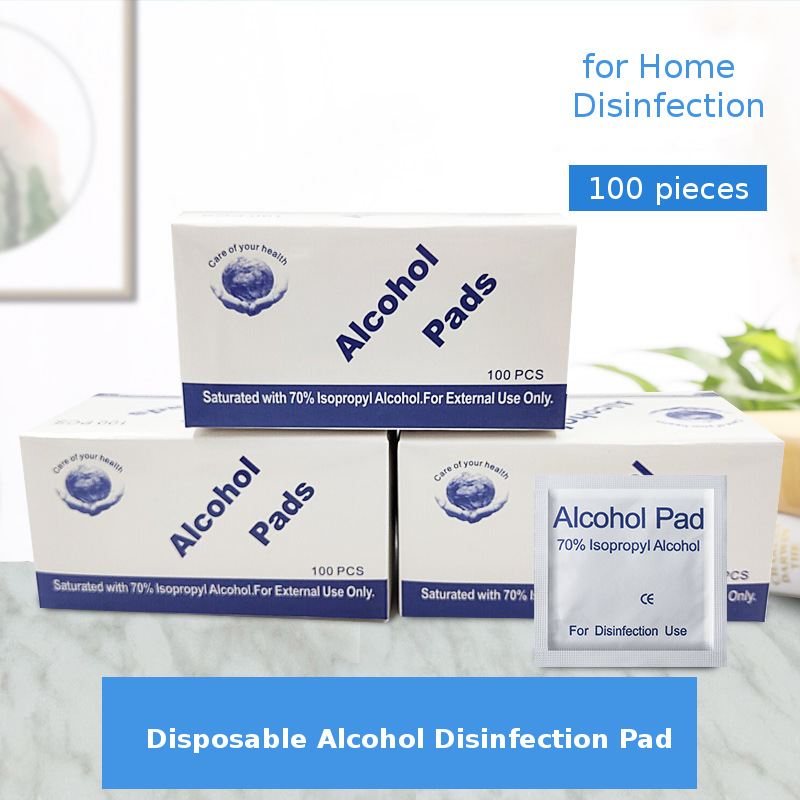 100PCS Disposable Disinfect Pad Individual Packaging Alcohol Disinfection Wet Paper Portable Safety Disinfection Alcohol Wipes