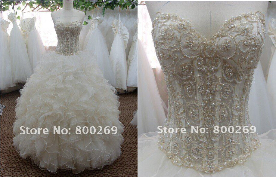 Real Photos Beading Ruffles Vestido De Noiva 2014 New Fashionable Sexy Bridal Gown Bandage Dress Wedding Dress Free Shipping