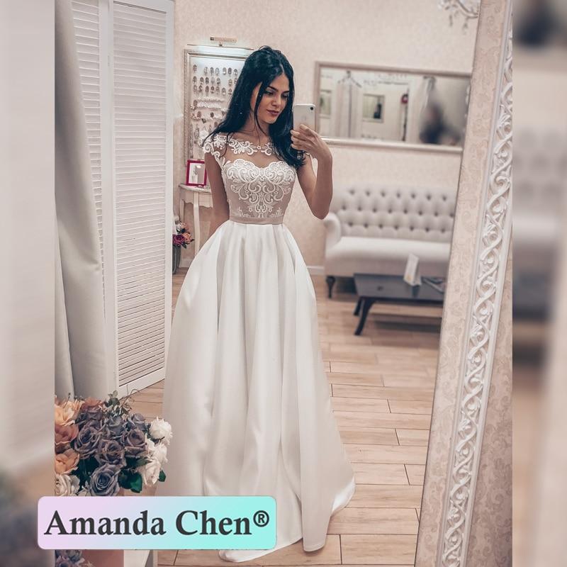 vestidos de novia 2019 Cap Sleeve Lace Appliques Satin Wedding Dress