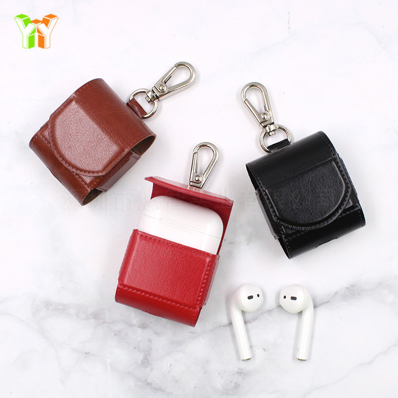 Suitable for <font><b>Apple</b></font> Bluetooth Headset Package <font><b>Apple</b></font> <font><b>AirPods</b></font> Protection Leather Case Keychain Wireless Earphone Leather Case image