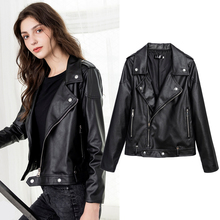 Banulin New Loose PU Faux Leather Jacket Women Classic Moto Biker Spring Autumn Lady Basic Coat Plus Size Outerwear