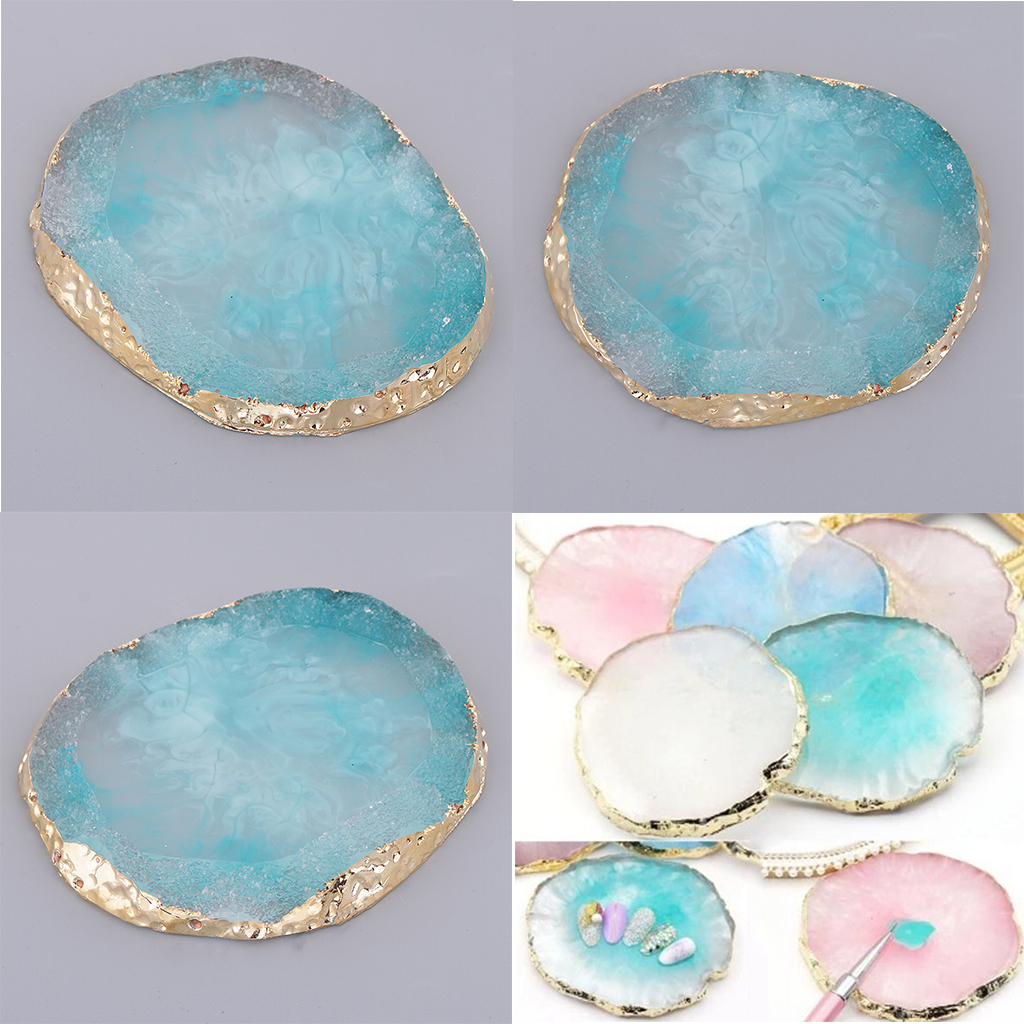 Drink Coaster Cup Mat Imitation Agate Display Pad Nail Art Palette blue