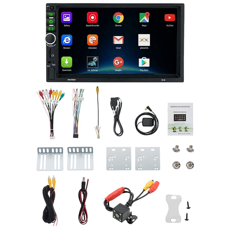 <font><b>Android</b></font> <font><b>8.1</b></font> Auto Stereo GPS Navi MP5 Player Doppel <font><b>2Din</b></font> WiFi 7 Zoll Quad Core BT mit 4LED Cam image
