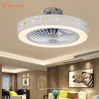 Fashion minimalist ceiling fan with lamp Indoor home ceiling fan with Light dimmable bedroom fan lamp 110V/220V