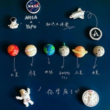 Apollo 11 Souvenir Creative Planet Series Magnetic Absorbent 3D Stereo Astronaut Resin Refricator Clamp Remaining Sound Panel De