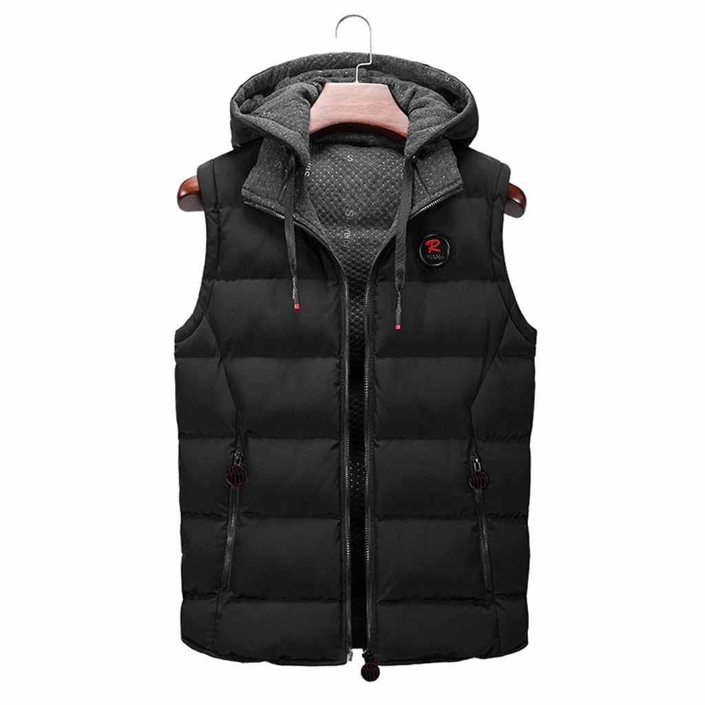 2019 High Quality Winter New Warm Sleeveless Jackets Hooded Vest Men Mens Casual Male Vest Coat Homme Plus Size L-3xl#3