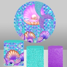 Purple Mermaid Round Background Circle Photo Backdrop Baby Shower Girl Birthday Party Decor Table Cylinder Cover photocall 746