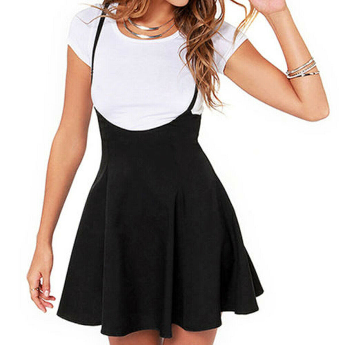 Women Mini Suspender Skater Skirt High Waisted Pleated Adjustable Strap Black