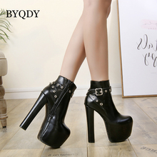 BYQDY New Woman Sexy Ankle Boots Rivets Thick High Heels Punk Platform Women Autumn Winter Short Plush Warm PU Leather Lady Boot