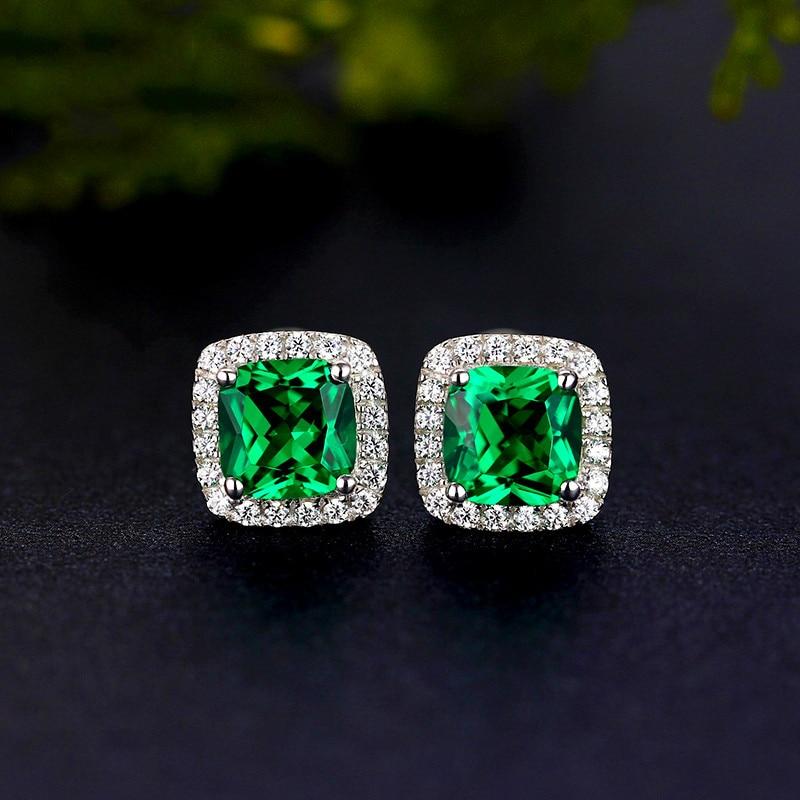 Luxury Female Emerald Green Square Earrings Sterling Silver Rose Gold Wedding Earrings Vintage Stud Earrings For Women