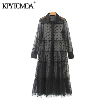 цена на KPYTOMOA Women Sexy Fashion Polka Dot Mesh Midi Dress Vintage Long Sleeve See Through Female Dresses Vestidos Mujer