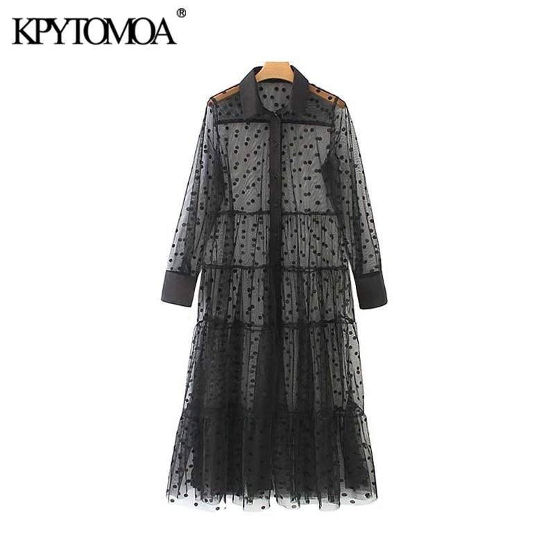 KPYTOMOA Women Sexy Fashion Polka Dot Mesh Midi Dress Vintage Long Sleeve See Through Female Dresses Vestidos Mujer