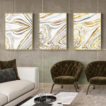 Abstrakcyjny marmurowy druk na płótnie obrazy żółte złoto folia plakat Morden obrazy na ścianę na płótnie salon Office Home Decor tanie i dobre opinie WANLU CN (pochodzenie) Wydruki na płótnie Oddzielna PŁÓTNO Wodoodporny tusz abstrakcyjne bez ramki Nowoczesne 3119 Malowanie natryskowe