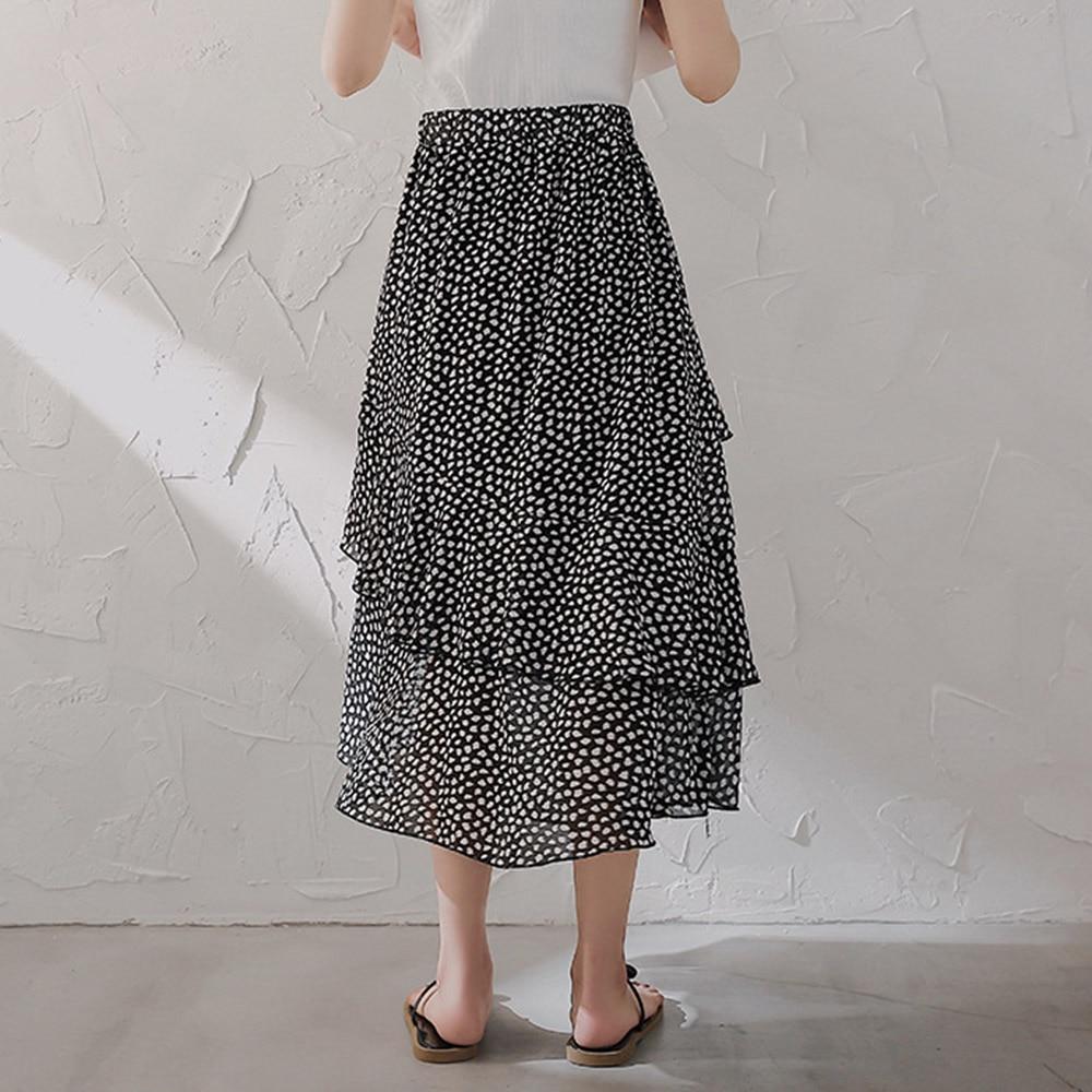 Summer Fashion Women's Asymmetric Floral Chiffon Skirts A-Line Mid-Calf Sweet Swing Skirts Korean Style Beach Vocation Skirts