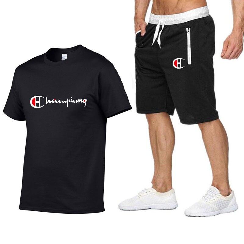 2019 Men Cotton T-shirt Set Summer Casual Sportsuits Men T Shirt+Shorts 2 Two Pieces Sets