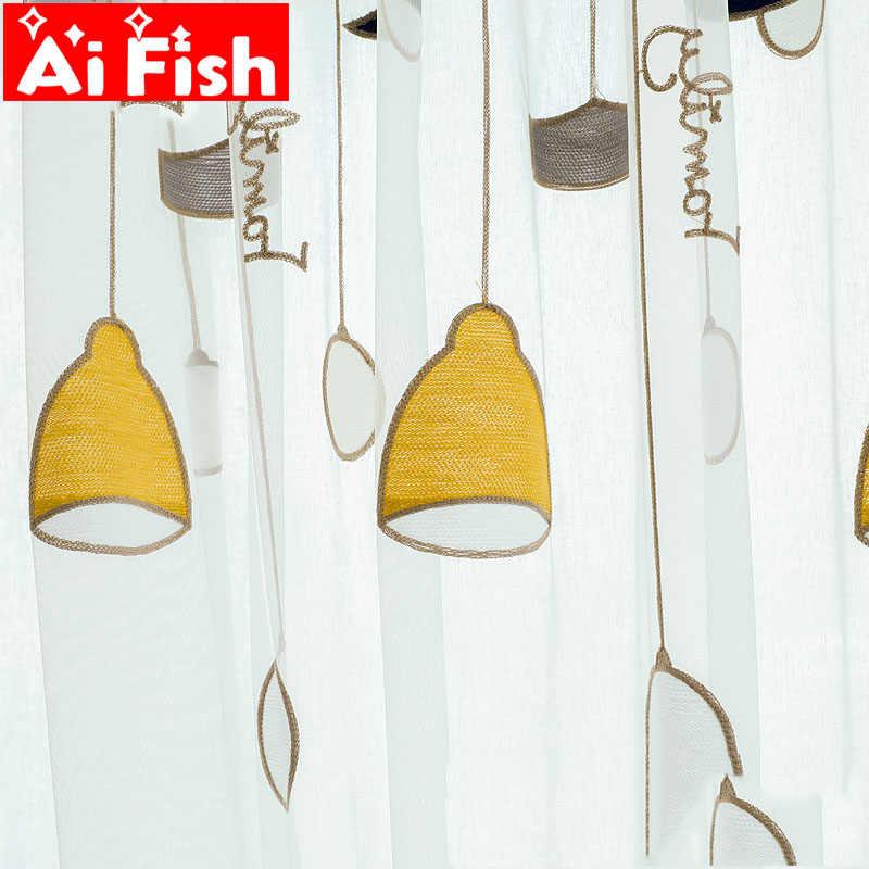 Высококачественное полотенце вышитое желтая люстра Тюль-шторы для окон для гостиной Корейская ПРОСТАЯ ПРОЗРАЧНАЯ детская спальня MY124-5