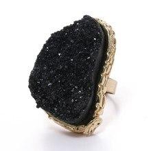 2020 boho enorme anillos de resinas ajustáveis anillo mujeres regalos grande imitação de cristal cuarzo anillos de