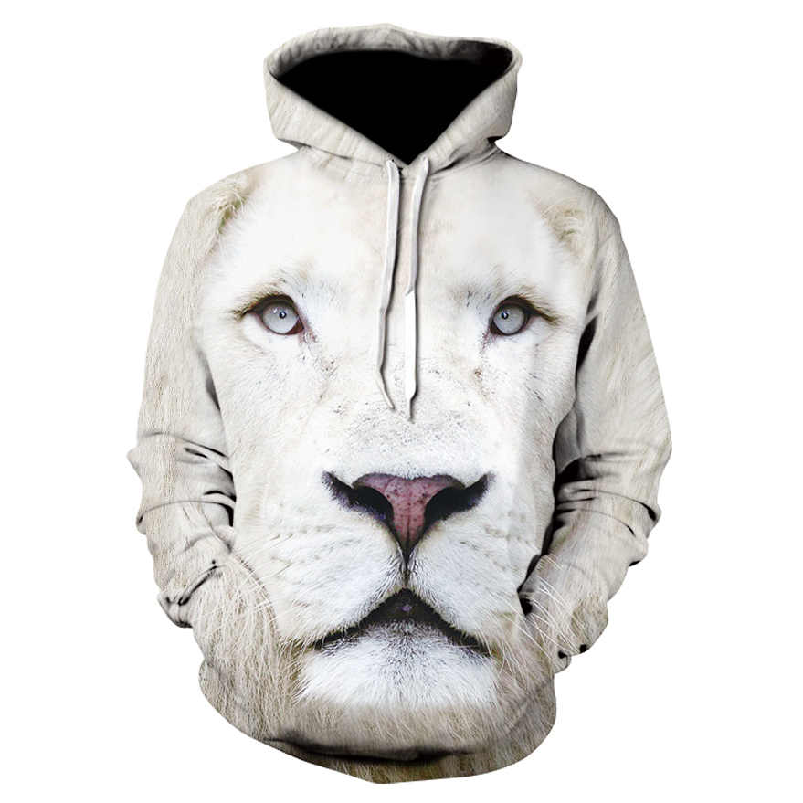 3D printed fierce white tiger head personality hoodie is the