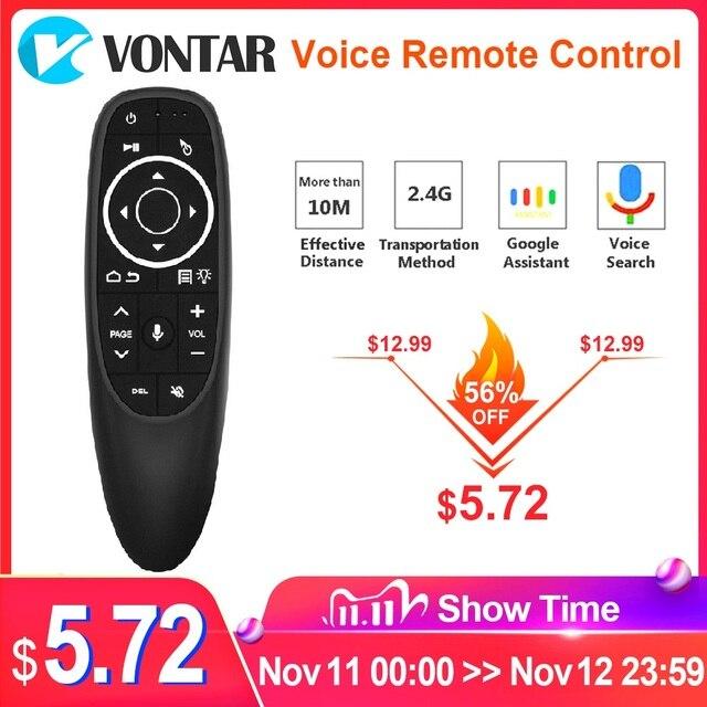 VONTAR G10 G10S Pro Thoại Điều Khiển Từ Xa 2.4G Không Dây Chuột Con Quay Hồi Chuyển IR Học Tập Cho Android Tv Box HK1 h96 Max X96 Mini