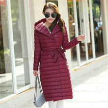 YICIYA Winter Women Duck Downs Jacket Parkas Sashes Long Down Coat Ladies Ultra Light Outerwear Hooded Coats Plus Size недорого
