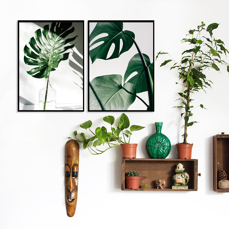 H1ebf5cb25f18452ab99ecff895fc7a67Y ART ZONE Nordic Canvas Painting Modern Prints Plant Leaf Art Posters Prints Green Art Wall Pictures Living Room Unframed Poster