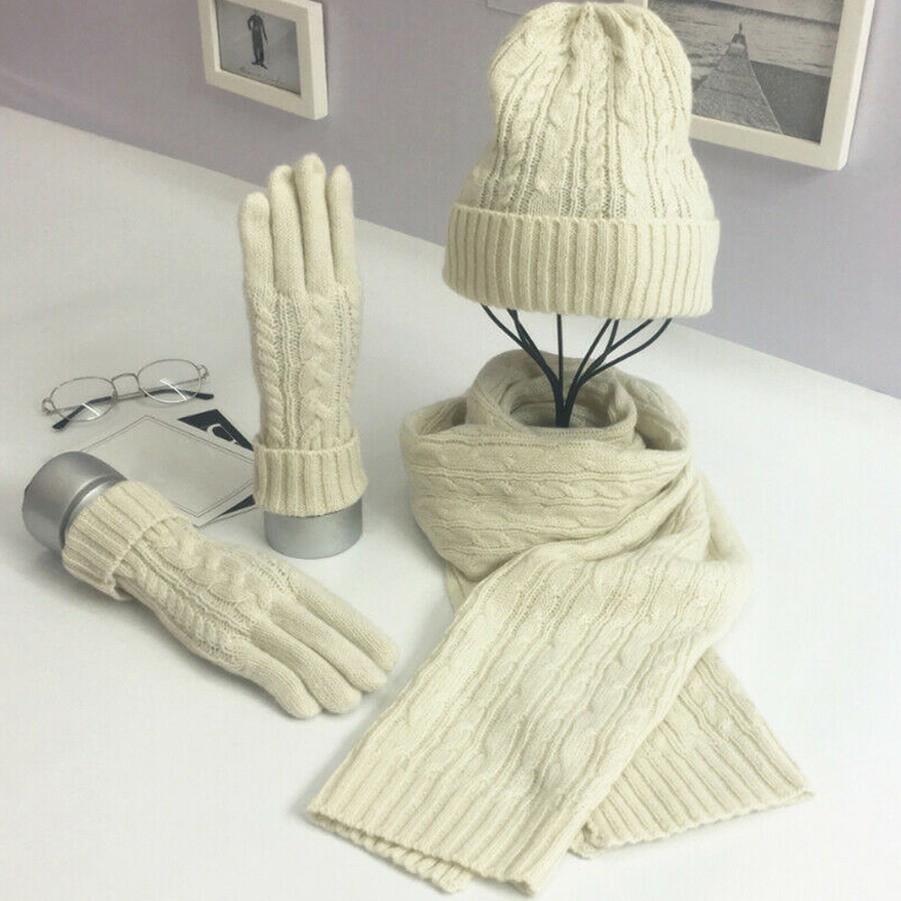 Womens Ladies Wooly Thick Knited Hat  Scarf and gloves Set knitted Woollen