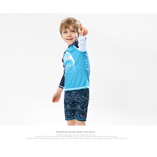 KID'S Swimwear Export Middle And Large Boy BOY'S Split Type Boxer Long Sleeve New Style Cartoon Sharks Bathing Suit