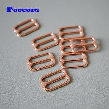 200Pcs/Lot Adjustment DIY Accessories for 25mm Webbing Rose Gold Metal Slider High Quality Plated Metal DIY Dog Collar Belts