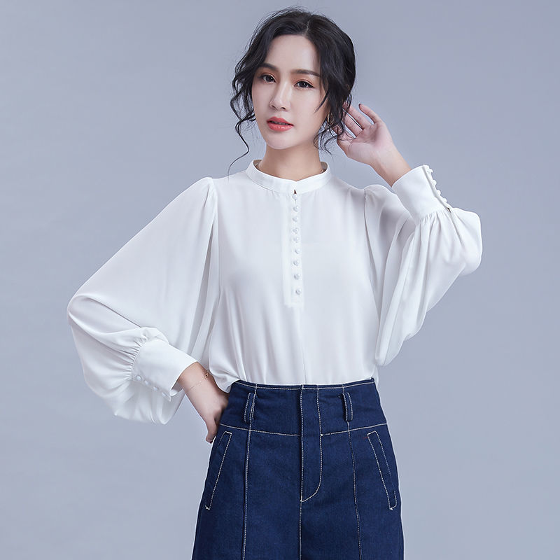 Lantern Sleeve Blouse Women 2020 Fashion Stand Collar Loose Long Sleeve Tops Office Lady Shirts Female Solid Color Clothes