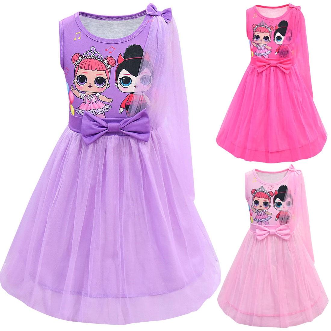 LOL Big Sister Dolls Cosplay Costume Kid Sleeveless Cartoon Dress Purple Skirt