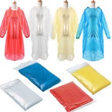 10x Disposable Adult Emergency Waterproof Rain Coat Poncho Hiking Camping Hood Poncho Travel Hiking Camping Rain Coat Unisex(China)