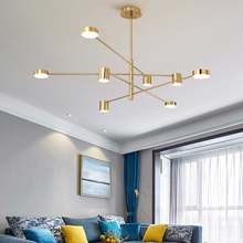 Nordic moderno led lustres design criativo 4/6/8 cabeças de ouro pendurado lâmpada para cozinha sala estar estudo decoração casa
