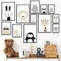 Постеры и принты в скандинавском стиле для детской комнаты, картины на холсте с изображением Льва, лисы, оленя, медведя, кролика, девочки и ма...