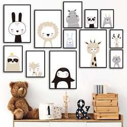 Lion Fox Deer Bear Rabbit Nursery Nordic Posters And Prints Girl Boy Wall Art Canvas Painting Wall Pictures Baby Kids Room Decor