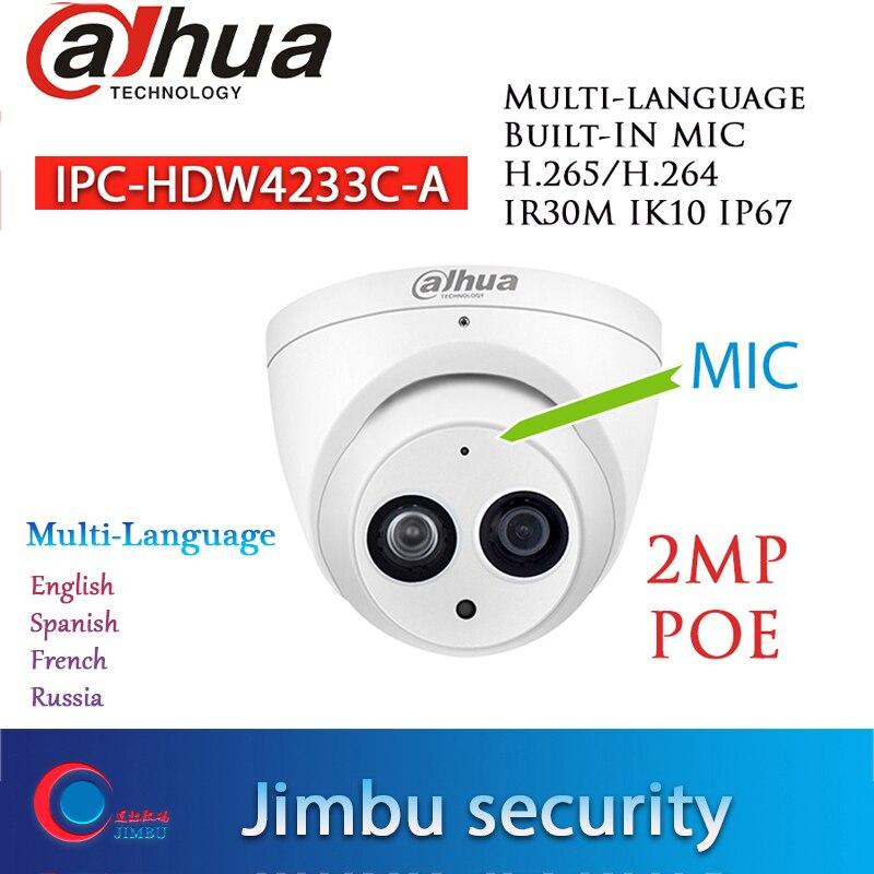 Dahua starlight poe 2mp IPC-HDW4233C-A sony 1080 p dome câmera ip construído mic h.265 ir30m 3dnr à prova dwaterproof água rússia languag modelo quente