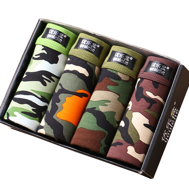4 Pieces Men's Underwear Modal Men Boxer Shorts Plus Size Boxers Tide Men Camouflage Trunks Comfortable Underpants