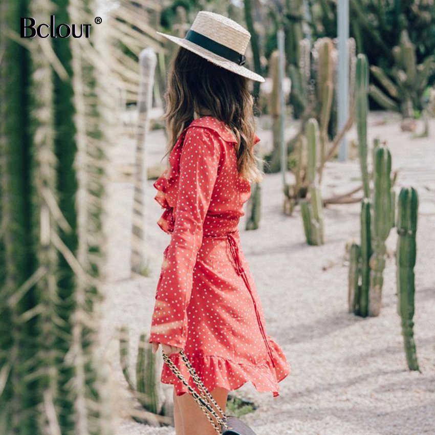 فستان الشمس قصير مكشكش باللون الأحمر من Bclout فستان نسائي بأكمام طويلة ونجوم قصيرة سترة عتيقة للنساء لخريف 2020 مثير أسود وأزرق