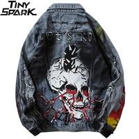 2021 Chaquetas vaqueras de hombre Streetwear cráneo Graffiti de Jean Denim azul chaqueta Hip Hop Harajuku chaqueta clásico Punk Rock