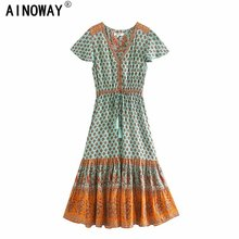 Vintage Chic women Floral print bat sleeve beach Bohemian maxi dress Ladies V neck Tassel Summer Boho happie dress vestidos