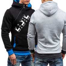 Зимний мужской пуловер с наклонной молнией 2020 толстовка капюшоном