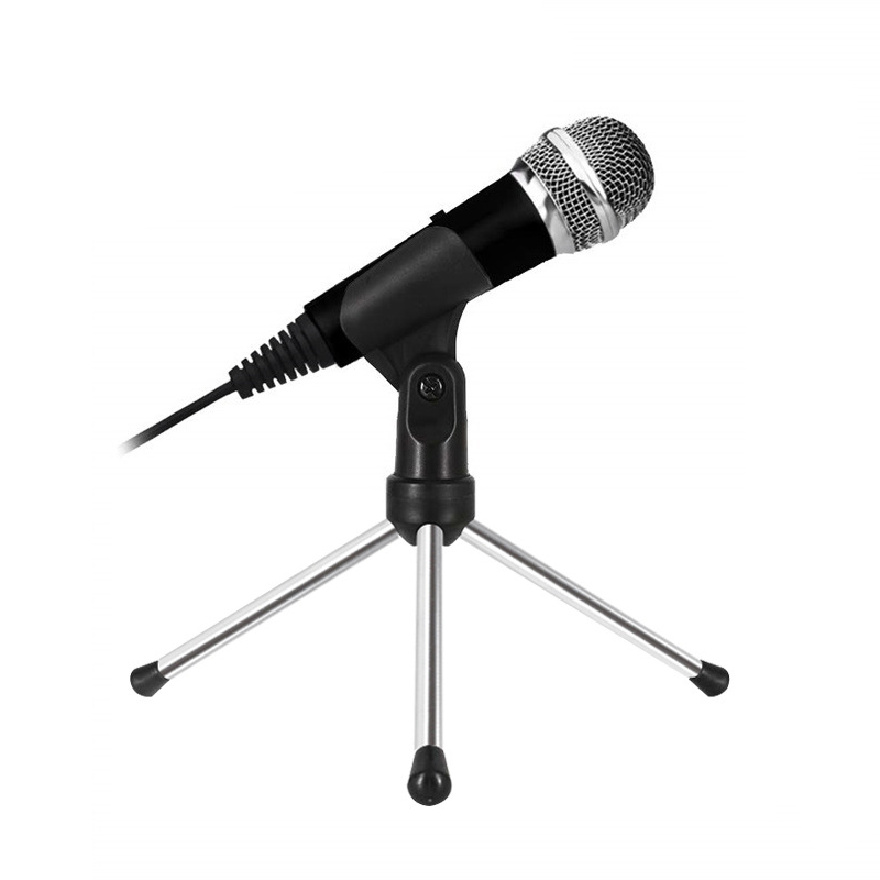 Mini Cardioid Karaoke Microphone with Stand for Pc Karaoke, Youtube, Gaming Recording 3.5 Mm Recording Mic Plug and Play image