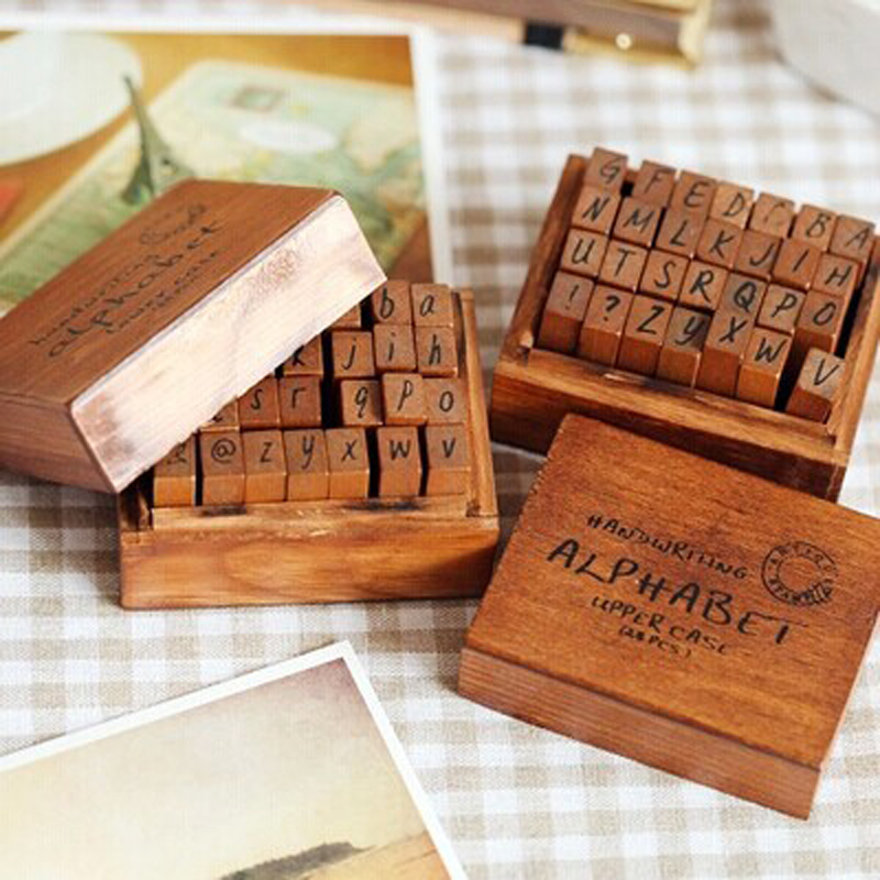 Ultimate SaleLetter Stamp Number Rubber Alphabet Gift Wood Vintage Diary 70pcs DIY with Box Combination