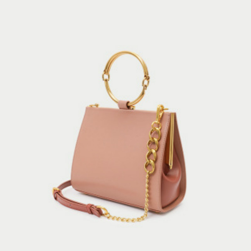Genuine Leather Women Bag 2020 Spring New Arrival  Metal Hand-held Small Square Bag Single Shoulder  Clamp  Bag